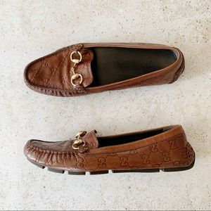 🌾 GUCCI Monogram Driving Loafers Brown